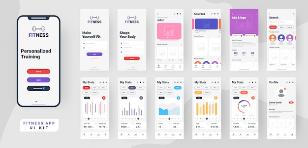 Fitness Ui App Mobile. Vecteur Premium