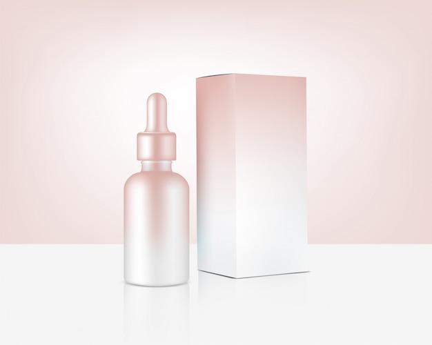 Flacon compte-gouttes maquette cosmétique et boîte en or rose réaliste pour produit de soin de la peau Vecteur Premium