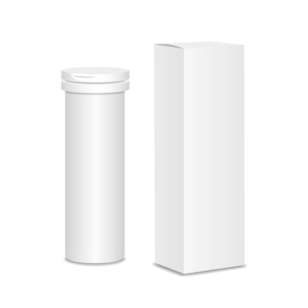 Flacon de médicament vide. emballage de médicaments avec boîte d'emballage Vecteur Premium