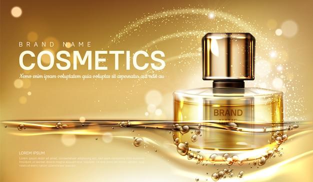 Flacon De Parfum D'huile Avec Liquide D'or Vecteur gratuit