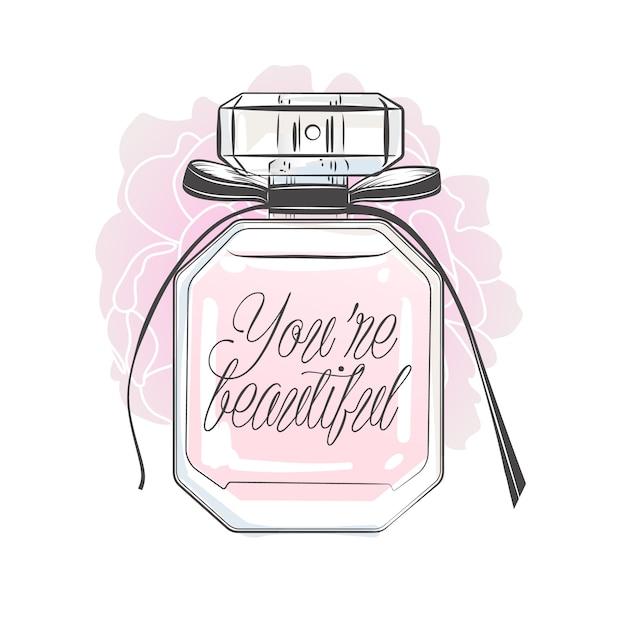 Flacon De Parfum Avec Lettrage. Illustration Vectorielle Dessinés à La Main. Vecteur Premium
