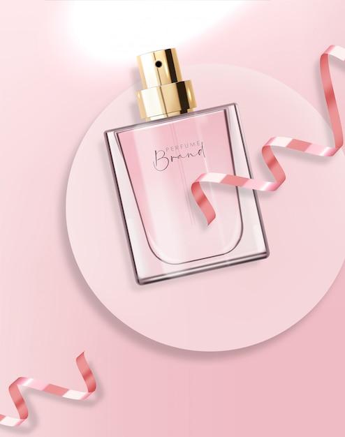 Flacon De Parfum Réaliste Et Rose, Récipient Isolé, Design élégant, Emballage, Arôme Liquide Floral, Nouvelle Illustration De Produit Vecteur Premium