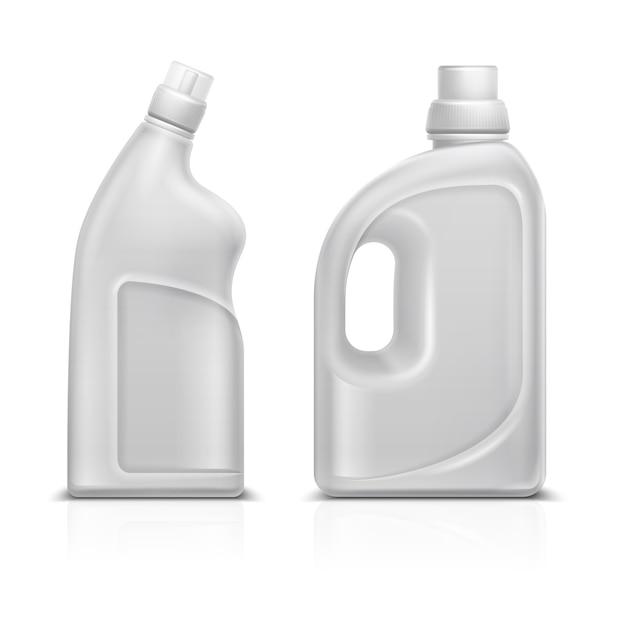 Flacon de plastique blanc 3d de produits chimiques ménagers. illustration vectorielle de toilette antiseptique nettoyant bouteille isolé nettoyant à bouteilles, produit détergent pour le ménage Vecteur Premium