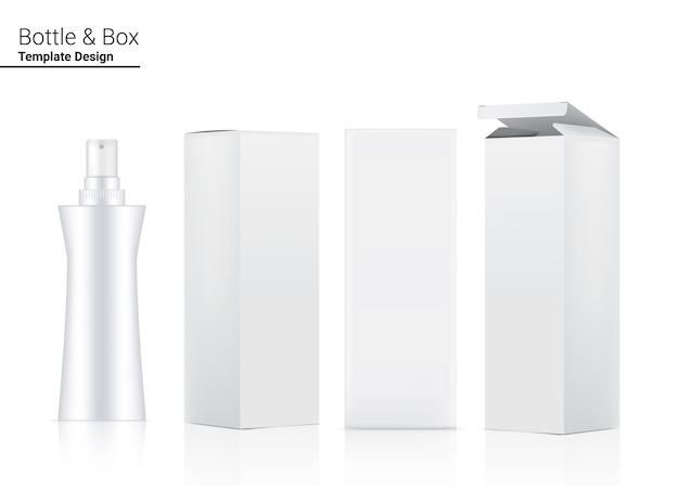 Flacon Pompe Maquette Cosmétique Réaliste Et Boîte En 3 Dimensions. Vecteur Premium