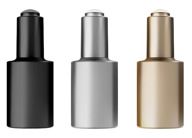 Flacon De Sérum Avec Compte-gouttes. Flacon D'huile De Traitement Du Visage. Flacon Compte-gouttes Noir, Doré Et Argenté Vecteur Premium