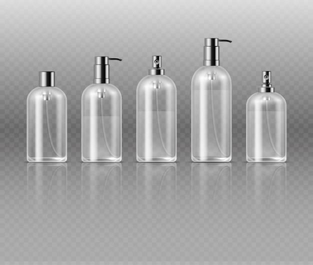 Flacons de parfum cosmétiques transparents avec pompe, modèle de vecteur d'emballage tube de verre cosmétique Vecteur Premium