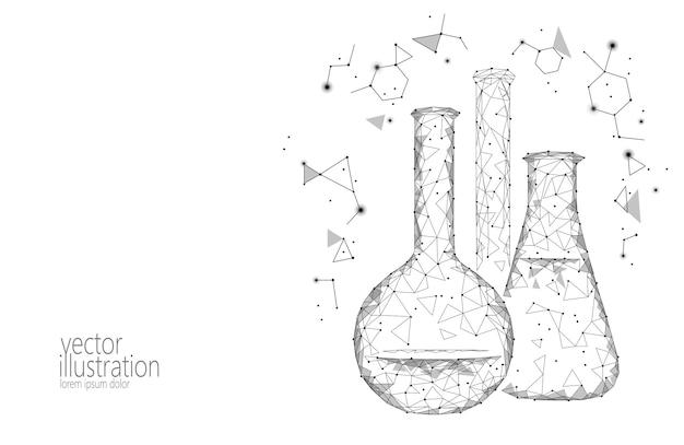Flacons en verre chimique low science science Vecteur Premium