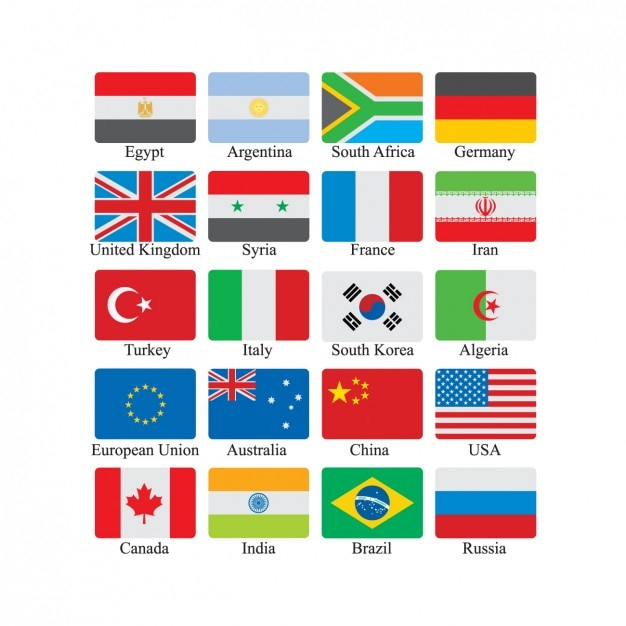 Flag Icon Set Vecteur gratuit