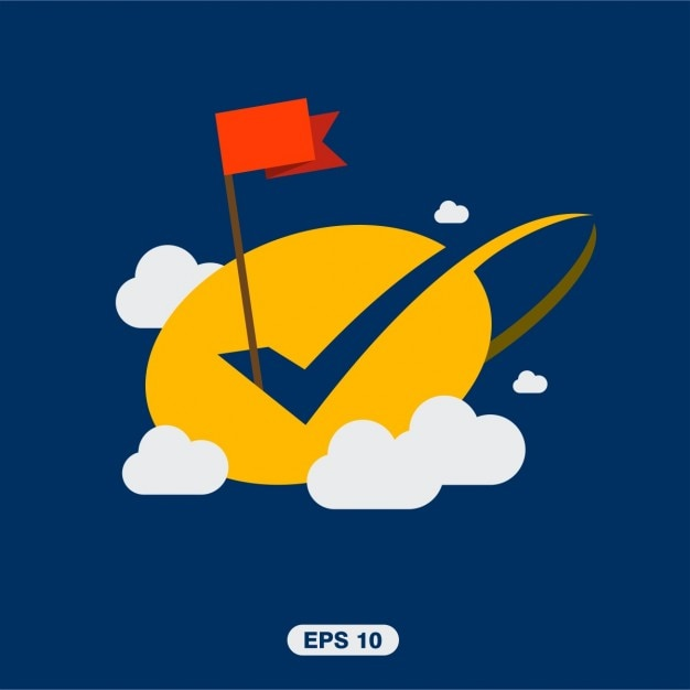 Flag succès avec tick ok dans les nuages Vecteur gratuit