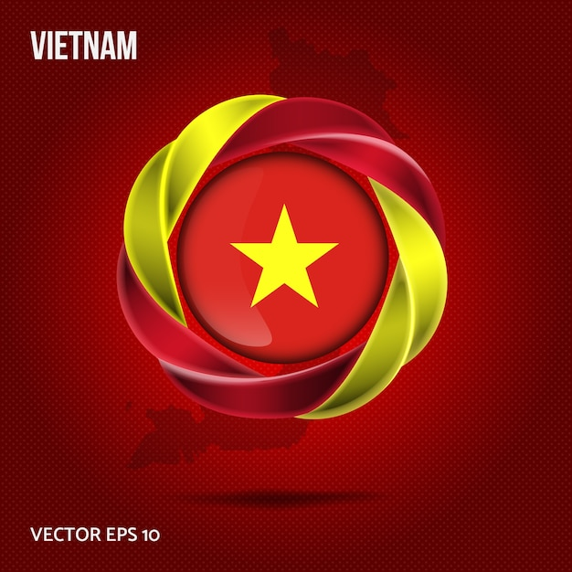 Flag Vietnam Broche Design 3d Vecteur Premium