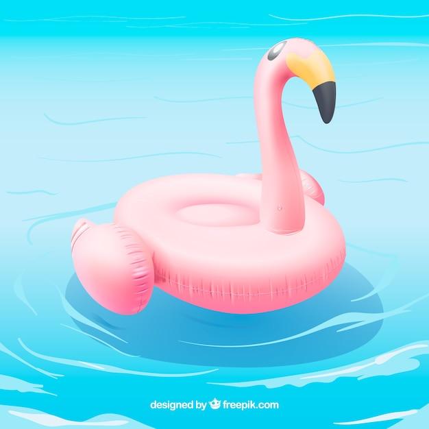 Flamant flamant dans une piscine Vecteur gratuit
