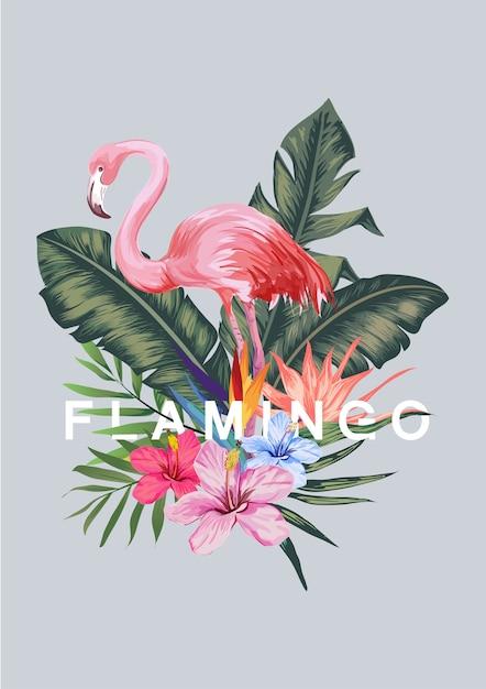 Flamant rose et illustration de feuille tropicale Vecteur Premium