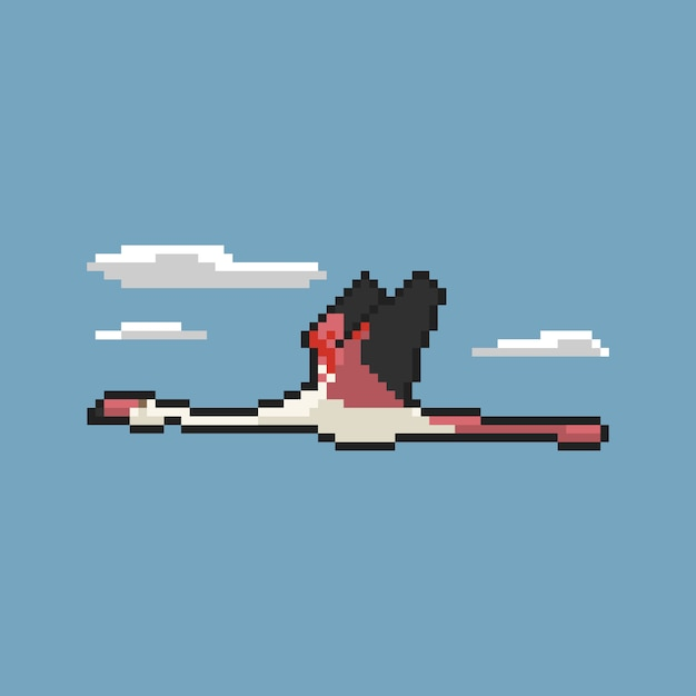 Flamant volant dans le ciel pixel art Vecteur Premium