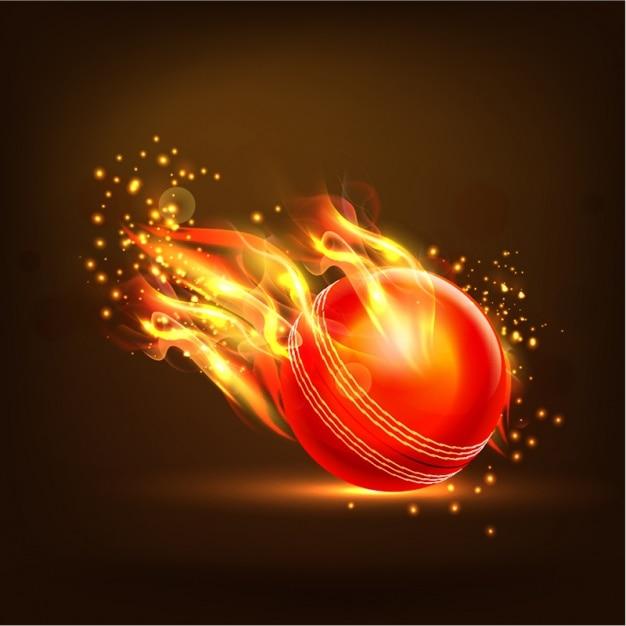 Flaming Balle De Cricket Fond Vecteur Premium