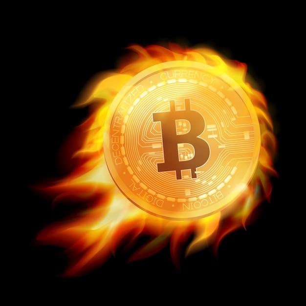 Flaming Symbole De Pièce D'or Bitcoin. Emblème De Bitcoin Brûlant. . Vecteur Premium