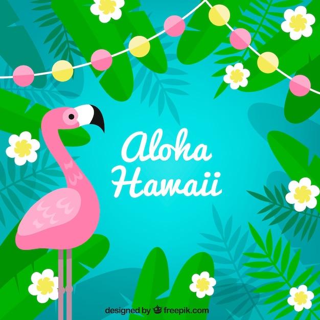 Flamingo aloha background Vecteur gratuit