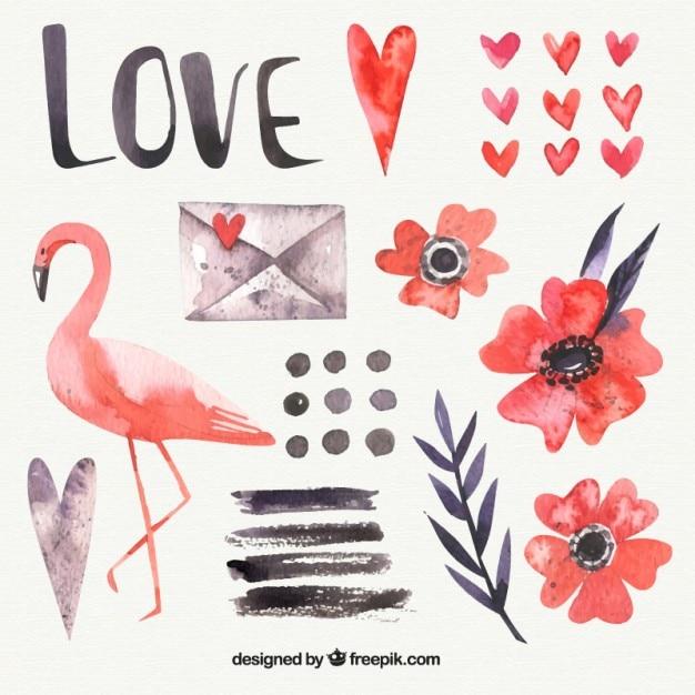 Flamingo aquarelle et éléments d'amour Vecteur gratuit