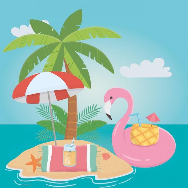 Flamingo float et en été Vecteur Premium