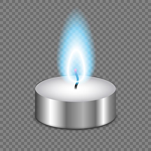 Flamme de bougie isolée sur fond transparent Vecteur Premium