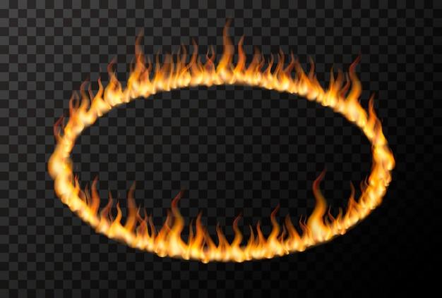 Flamme De Feu Brillant En Forme D'ellipse Sur Transparent Vecteur Premium