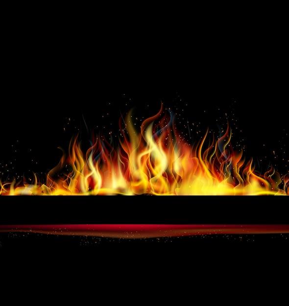 Flamme de feu sur fond noir Vecteur Premium