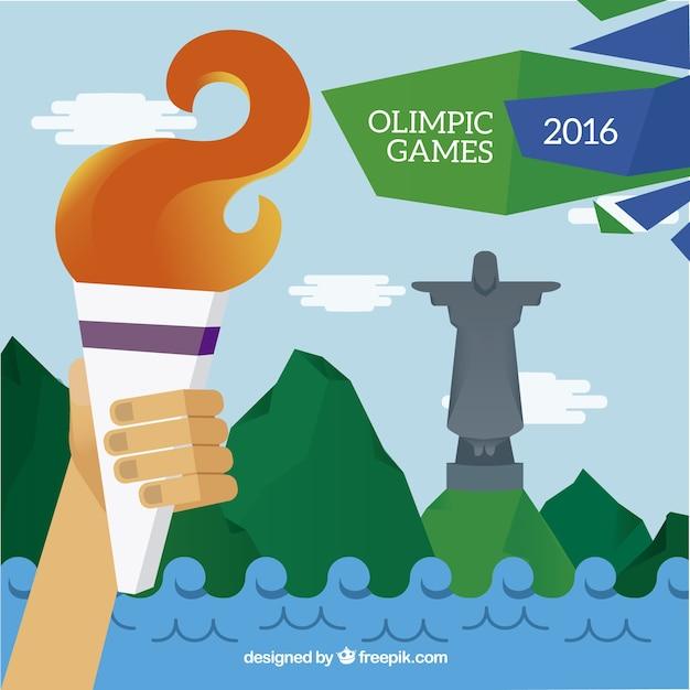 La flamme olympique à brazil 2016 fond Vecteur gratuit