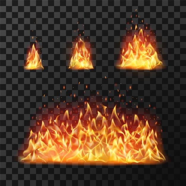 Flammes de feu brûlantes ou boule de feu enflammée Vecteur Premium