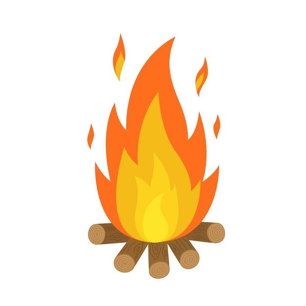 Flammes de feu de camp isolées Vecteur Premium