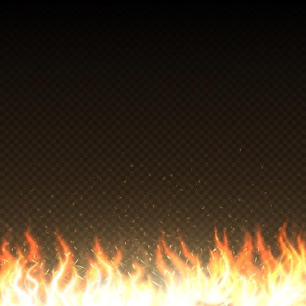 Flammes De Feu Chaud Avec Modèle De Vecteur Isolé étincelles Rougeoyantes Pouvoir Brûler Chaleur Flamme Illustration Vecteur Premium