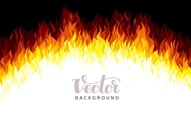 Flammes De Feu Réalistes Sur Fond Noir Vecteur Premium