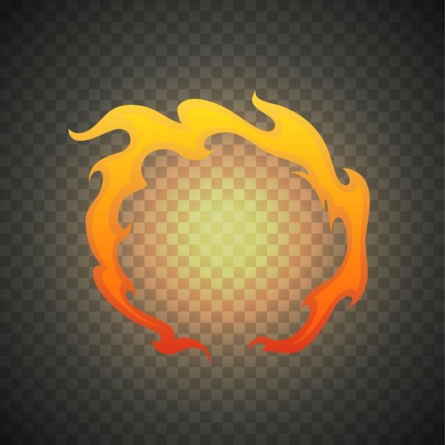 Flammes de feu réalistes isolées sur transparent. effet lumineux spécial avec étincelle Vecteur Premium