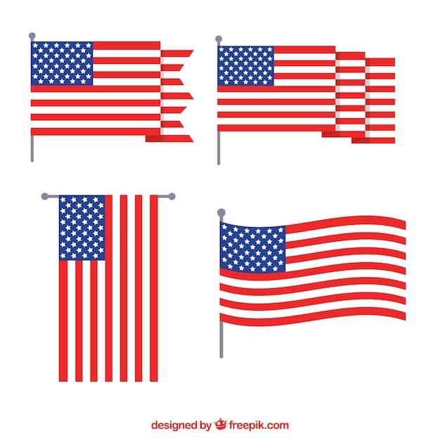 Flapped American Flag Collection Flat Design Vecteur gratuit