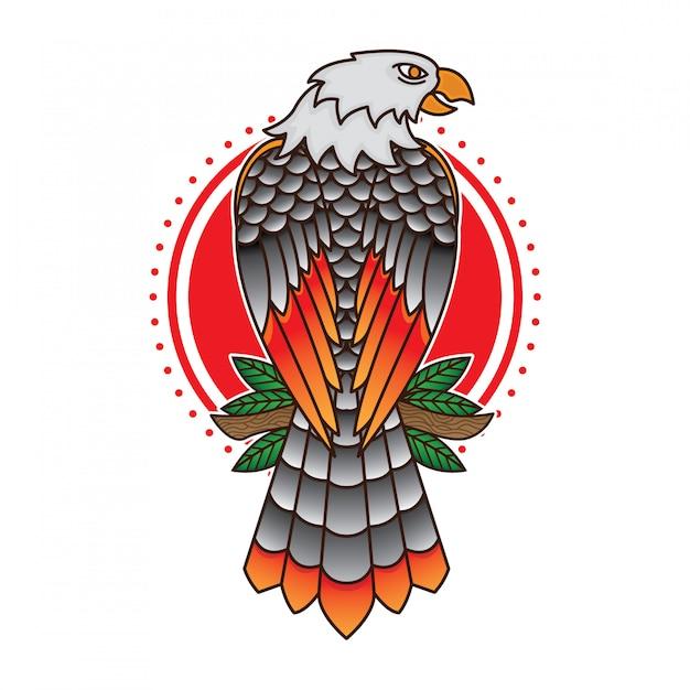 Flash de tatouage aigle traditionnel Vecteur Premium