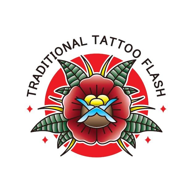 Flash de tatouage de fleur traditionnelle Vecteur Premium