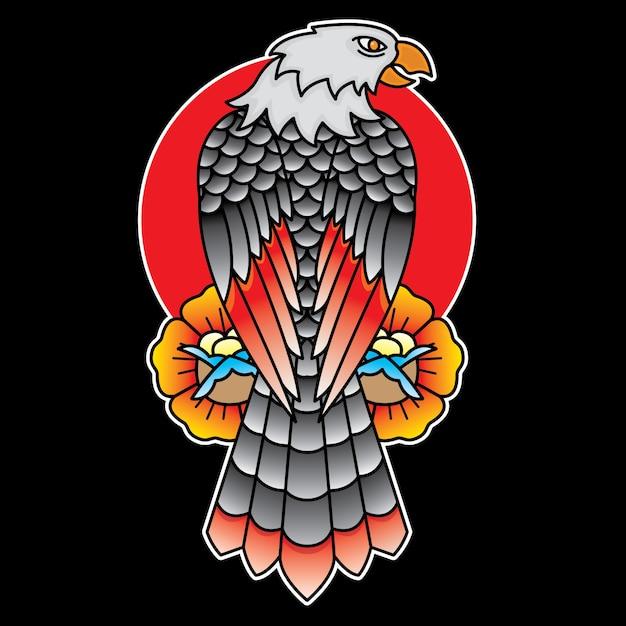 Flash tatouage traditionnel aigle Vecteur Premium