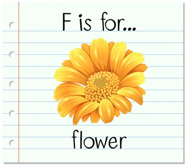 Flashcard lettre f est pour fleur Vecteur gratuit