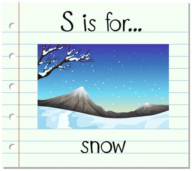 Flashcard lettre s est pour la neige Vecteur gratuit
