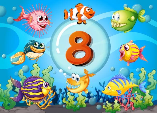 Flashcard numéro huit avec 8 poissons sous l'eau Vecteur gratuit