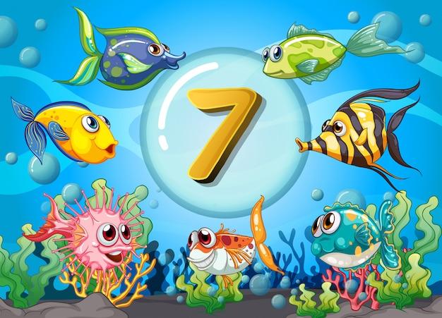 Flashcard numéro sept avec 7 poissons sous l'eau Vecteur gratuit