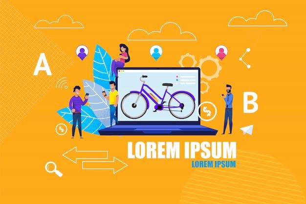 Flat banner app de service en ligne de location de vélos. Vecteur Premium
