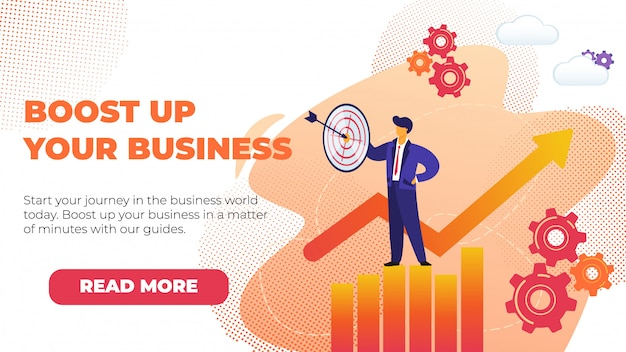 Flat banner boostez votre entreprise avec la promotion. Vecteur Premium