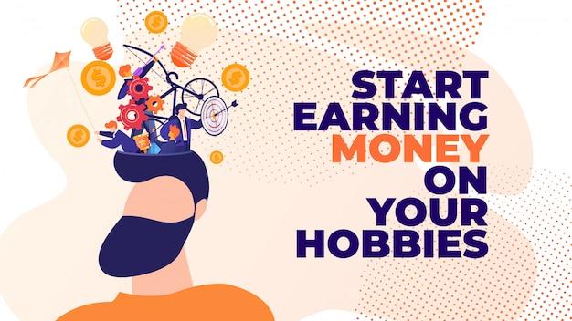 Flat banner commencez à gagner de l'argent avec vos passe-temps. Vecteur Premium