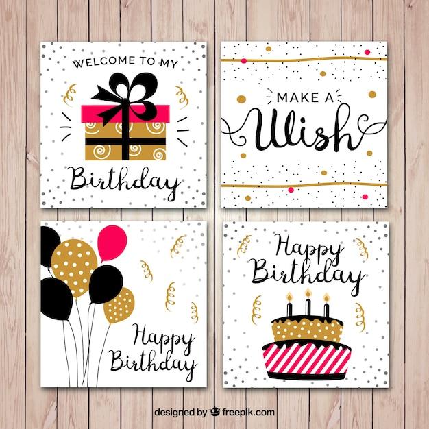 Flat carte d'anniversaire ensemble Vecteur gratuit