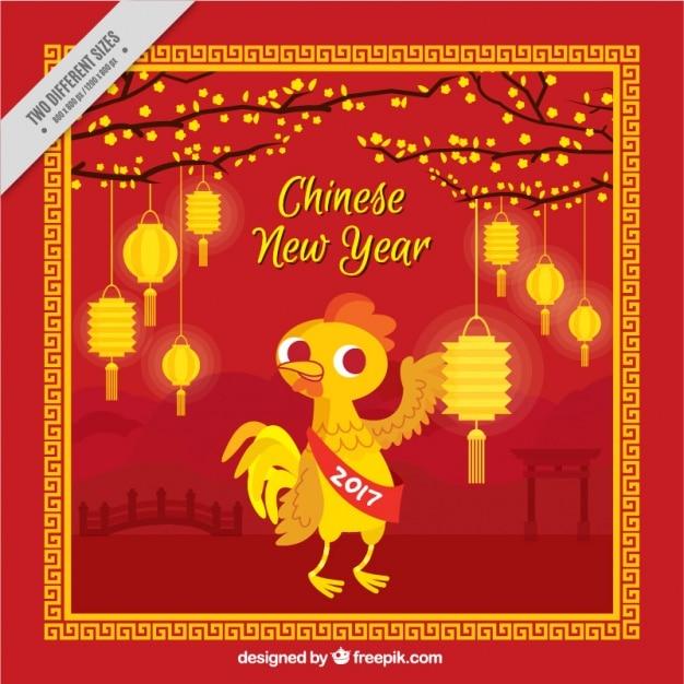 Flat Chinese New Year Background Avec Des Lanternes Brillantes Et Coq Vecteur gratuit