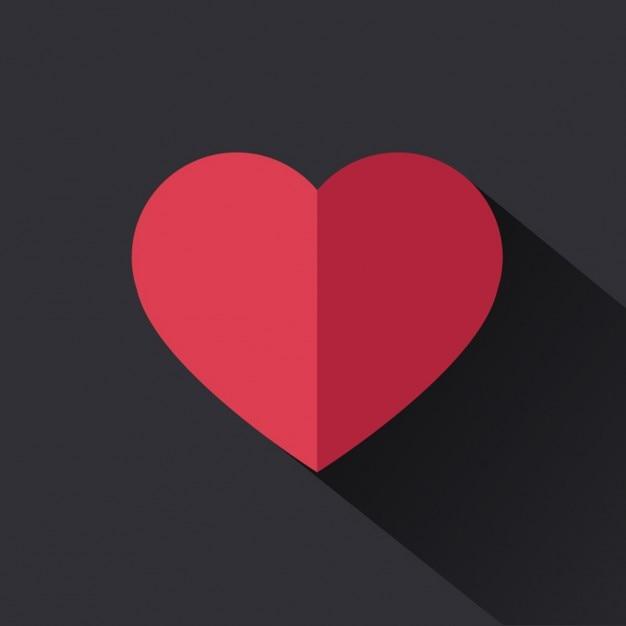 Flat coeur rouge Vecteur gratuit