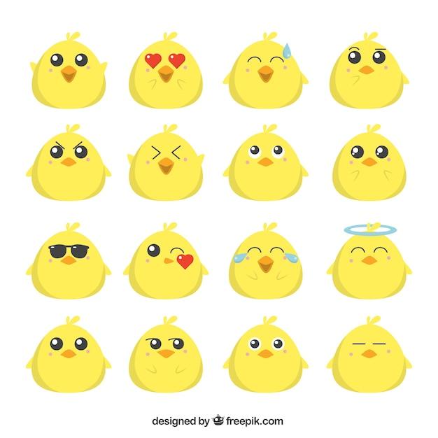 Flat collection emoji de poussin drôle Vecteur gratuit