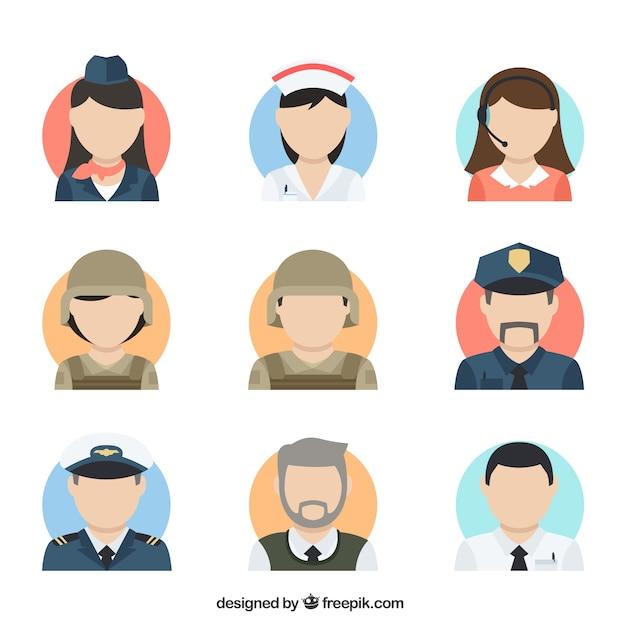 Flat colletion of professions avatars Vecteur gratuit