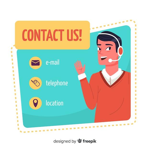 Flat design contactez nous template Vecteur gratuit