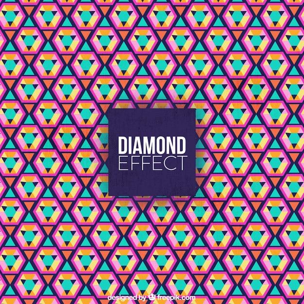Flat Fond Coloré Avec Effet Diamant Vecteur gratuit