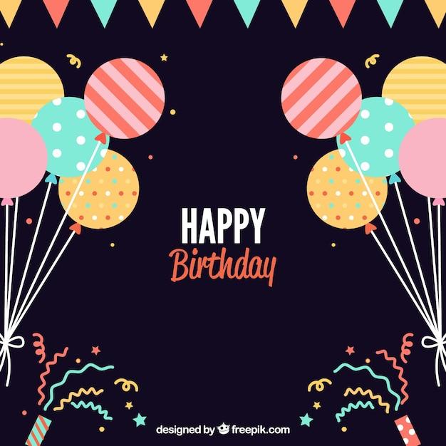 Flat fond d'anniversaire avec des ballons décoratifs Vecteur gratuit